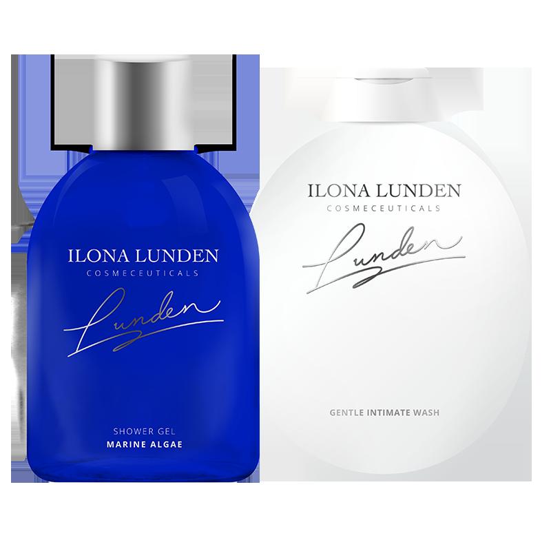 Купить Водорослевый гель-уход для душа + Нежный гель для интимной гигиены, Ilona Lunden